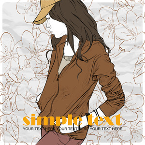 Fashion Girl With Cap In Sketch-style On A Floral Background .vector Illustration.