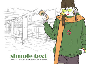 Fashion Girl With Coffee-cup In Sketch Style On A Subway Station. Vector Illustrator.