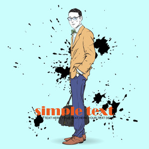 Fashion Men With Bag And Glasses In Sketch-style On A Grunge-background. Vector Illustration