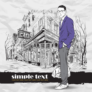 Fashion Men With Bag And Glasses In Sketch-style On A Street-cafe-background. Vector Illustration.