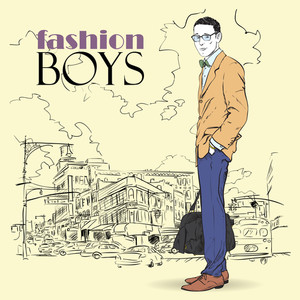 Fashion Men With Bag  In Sketch-style On A City-background. Vector Illustration.