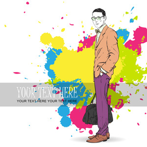 Fashion Men With Bag In Sketch-style On A Megapolis-background. Vector Illustration.