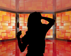 Fashionable Girl Dancing Silhouette With Monitors Showing Energetic Party