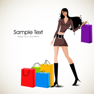 Fashionable Girl With Shopping Bags.