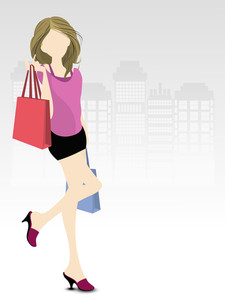 Fashionable  Shopping Girl With Bags