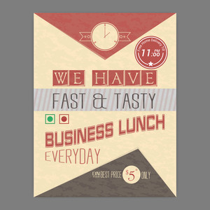 Fast and Tasty Business Lunch flyer or template with free home delivery on vintage background.