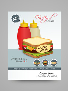 Fast Food Corner Menu Card design with special offer on fresh sandwitch.