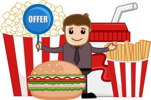 Fast Food Offer & Sale - Cartoon Business Vector Character