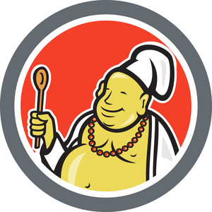 Fat Buddha Chef Cook Cartoon