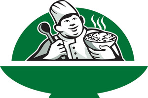 Fat Chef Cook Holding Bowl Spoon Retro