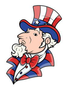 Fat Uncle Sam 4th Of July Vector Illustration
