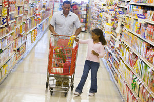 Father and daughter grocery shopping in supermarket