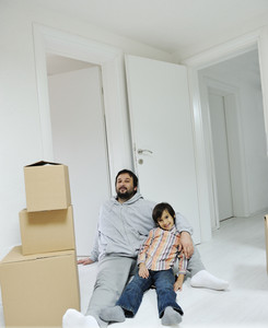 Father and son at new home
