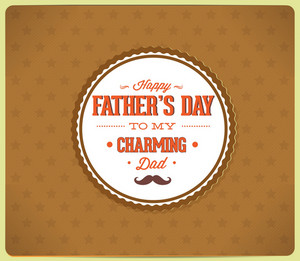 Father's Day Vector Illustration With Vintage Retro Type Font And Badge