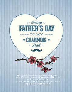 Father's Day Vector Illustration With Vintage Retro Type Font, Flowers,heart