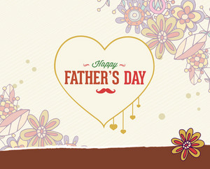 Father's Day Vector Illustration With Vintage Retro Type Font, Heart