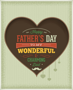 Father's Day Vector Illustration With Vintage Retro Type Font, Heart,ribbon