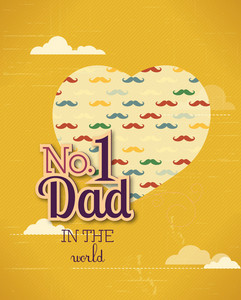 Father's Day Vector Illustration With Vintage Retro Type Font, Moustache, Heart,cloud