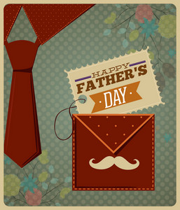 Father's Day Vector Illustration With Vintage Retro Type Font,  Moustache, Tie,  Pocket,flowers,