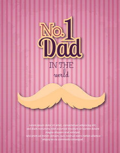 Father's Day Vector Illustration With Vintage Retro Type Font, Moustache