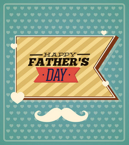 Father's Day Vector Illustration With Vintage Retro Type Font, Moustache,ribbon