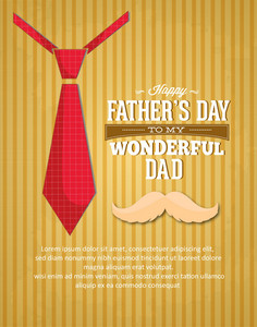 Father's Day Vector Illustration With Vintage Retro Type Font, Moustache,tie