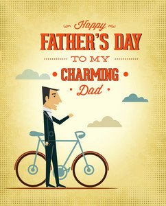 Father's Day Vector Illustration With Vintage Retro Type Font, People, Cloud