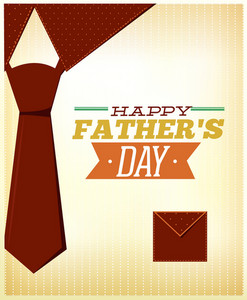 Father's Day Vector Illustration With Vintage Retro Type Font, Tie,
