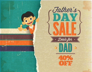 Father's Day Vector Illustration With Vintage Retro Type Font, Torn Paper, Kid,