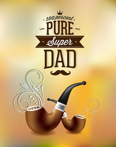 Father's Day Vector Illustration With Vintage Retro Type Font,flowers, Pipe