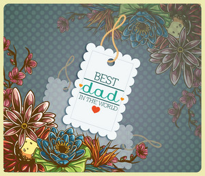 Father's Day Vector Illustration With Vintage Retro Type Font,flowers, Sticker, Tag,