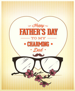 Father's Day Vector Illustration With Vintage Retro Type Font,flowers,heart, Glasses