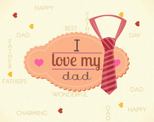 Father's Day Vector Illustration With Vintage Retro Type Font,frame,tie
