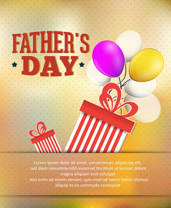 Father's Day Vector Illustration With Vintage Retro Type Font,gift, Balloons