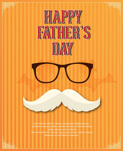Father's Day Vector Illustration With Vintage Retro Type Font,glasses, Moustache