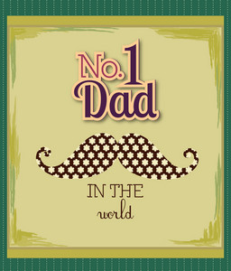 Father's Day Vector Illustration With Vintage Retro Type Font,moustache