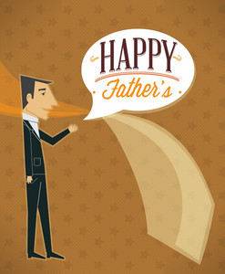 Father's Day Vector Illustration With Vintage Retro Type Font,people, Tie, Chat Balloon