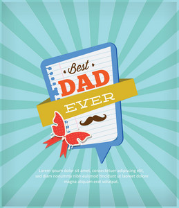 Father's Day Vector Illustration With Vintage Retro Type Font,rays, Frame, Butterfly
