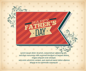 Father's Day Vector Illustration With Vintage Retro Type Font,ribbon,flowers
