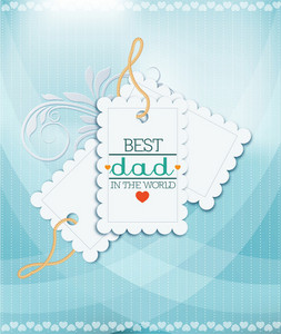 Father's Day Vector Illustration With Vintage Retro Type Font,sticker Tag