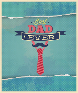 Father's Day Vector Illustration With Vintage Retro Type Font,tie