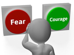 Fear Courage Buttons Show Scary Or Unafraid