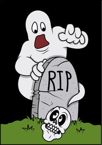 Fearful Ghost After Seeing Skull In Graveyard - Halloween Vector Illustration