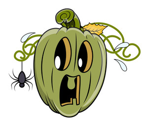 Fearful Jack O' Lantern By A Tiny Spider - Halloween Vector Illustration