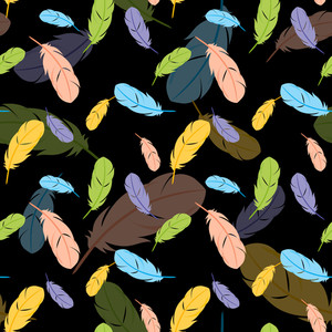 Feathers Seamless Pattern. Vector Illustration