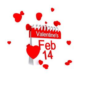 February 14 Valentine Day 3d Render