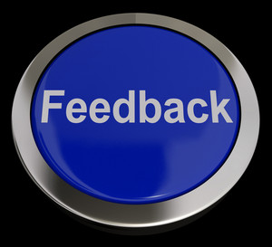 Feedback Button In Blue Showing Opinions And Surveys