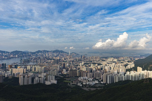 Fei ngo shan (Kowloon Peak) Hong Kong cityscape skyline.