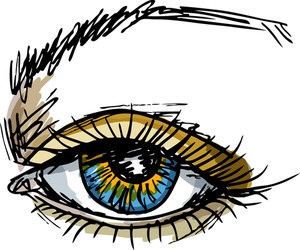 Female Blue Eye. Vector Illustration