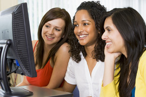 Female college students in a computer lab